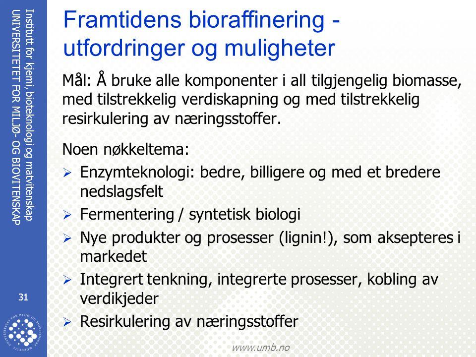 Framtidens bioraffinering - utfordringer og muligheter