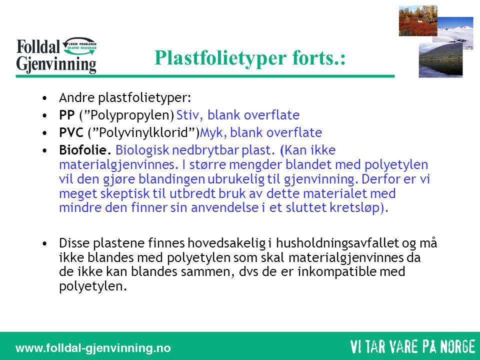 Plastfolietyper forts.: