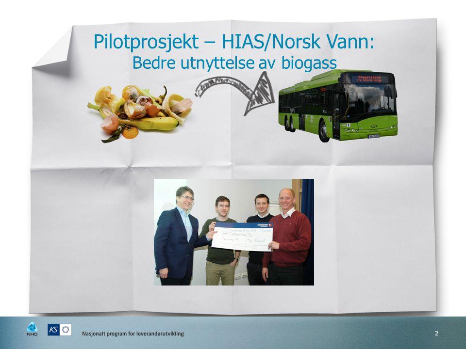 Pilotprosjekt – HIAS/Norsk Vann: Bedre utnyttelse av biogass