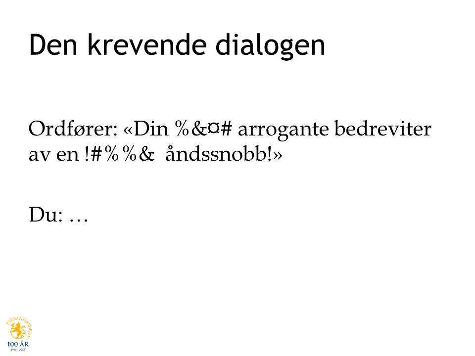 Den krevende dialogen Ordfører: «Din %&¤# arrogante bedreviter av en !#%%& åndssnobb!» Du: …