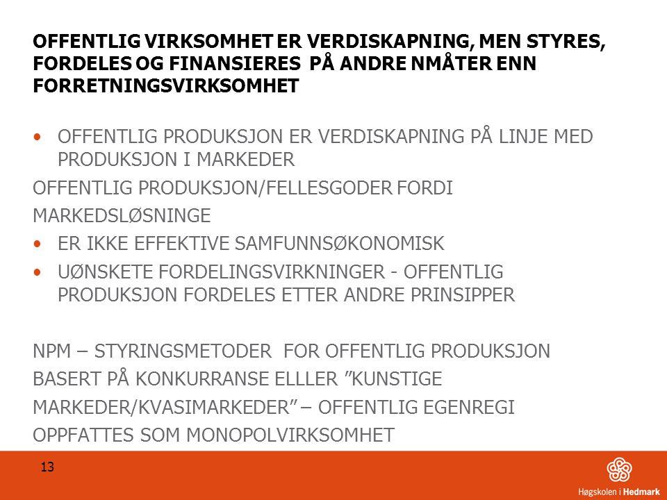 OFFENTLIG PRODUKSJON/FELLESGODER FORDI MARKEDSLØSNINGE
