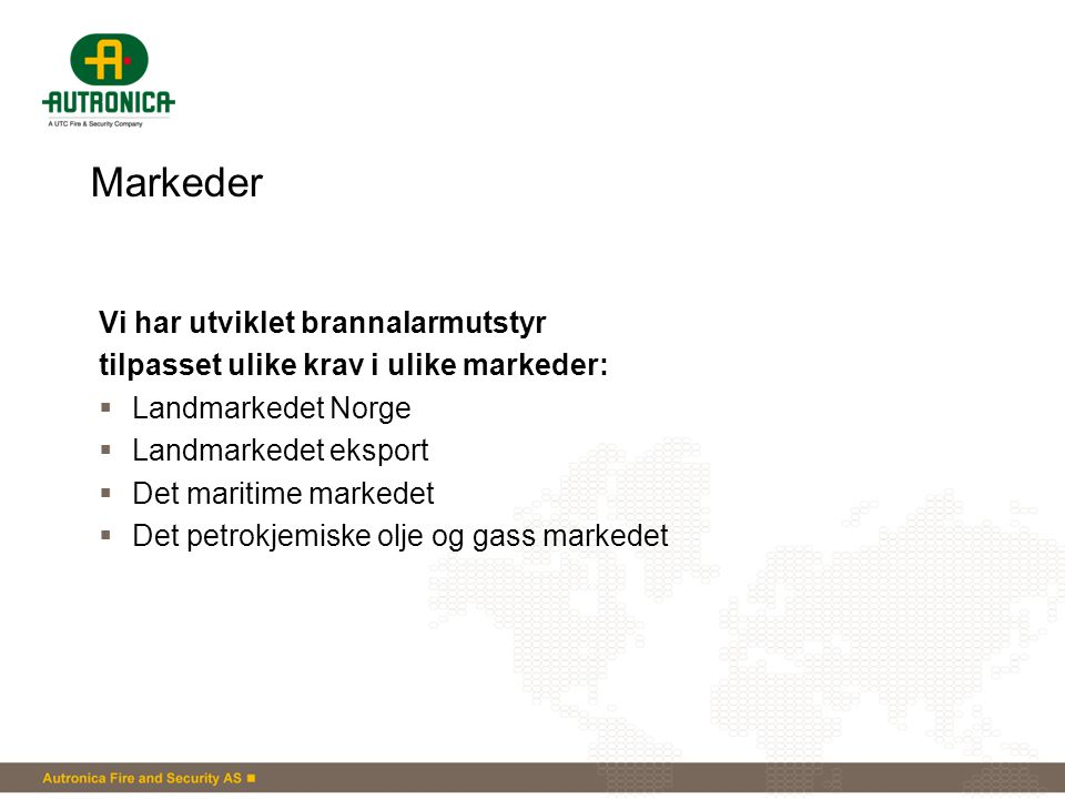 Markeder Vi har utviklet brannalarmutstyr