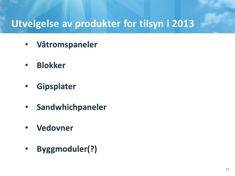 Utvelgelse av produkter for tilsyn i 2013