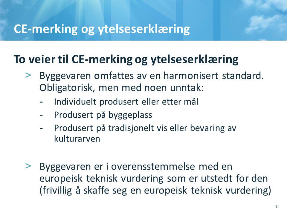 CE-merking og ytelseserklæring