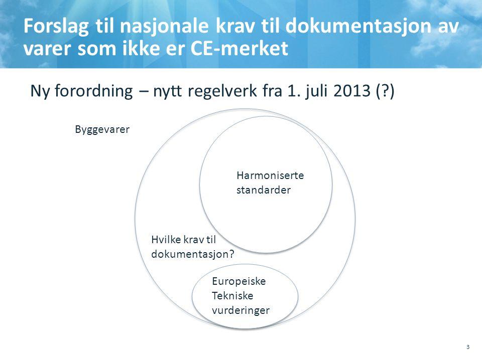10.10.2011 , Sted, tema. Forslag til nasjonale krav til dokumentasjon av varer som ikke er CE-merket.