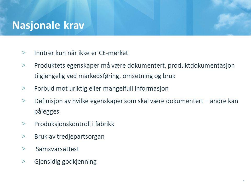 Nasjonale krav Inntrer kun når ikke er CE-merket