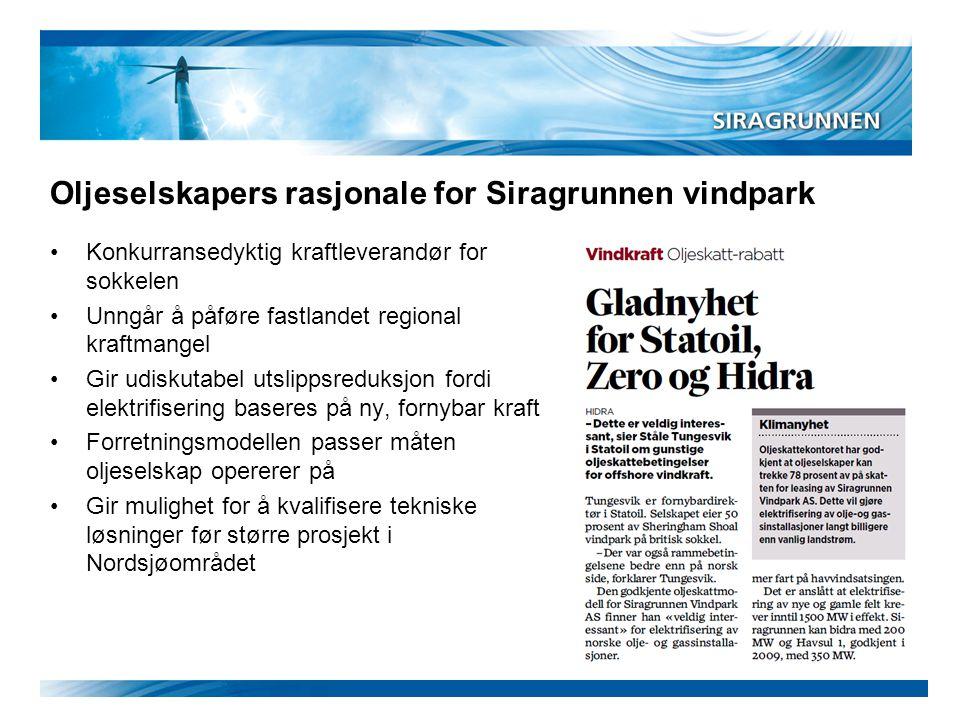 Oljeselskapers rasjonale for Siragrunnen vindpark