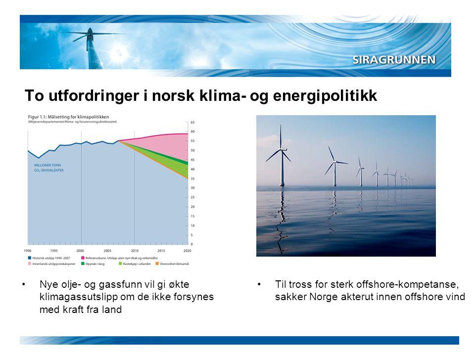 To utfordringer i norsk klima- og energipolitikk