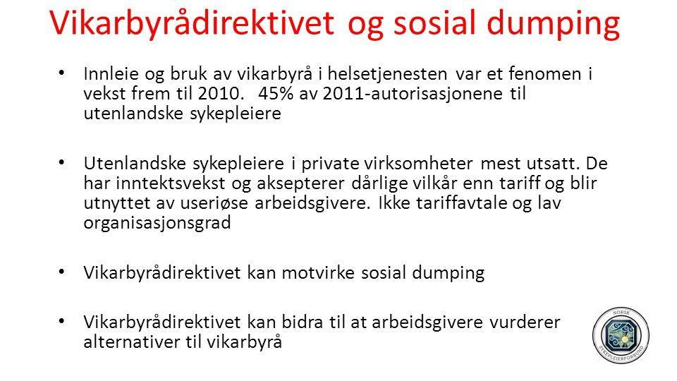 Vikarbyrådirektivet og sosial dumping