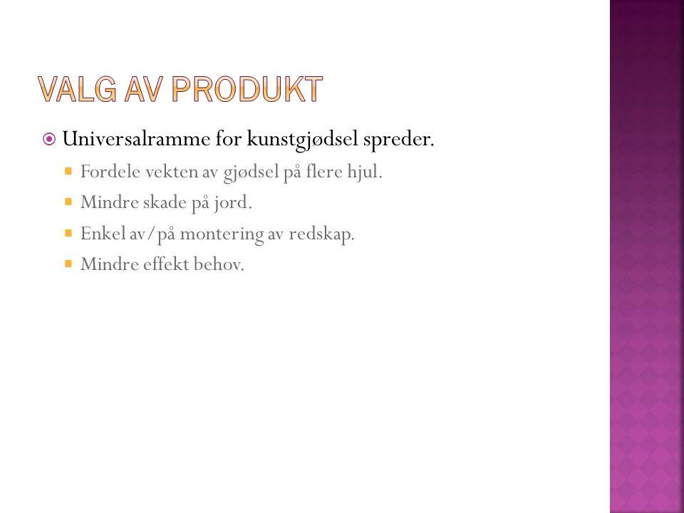 Valg av produkt Universalramme for kunstgjødsel spreder.