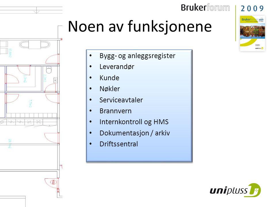 Noen av funksjonene Bygg- og anleggsregister Leverandør Kunde Nøkler