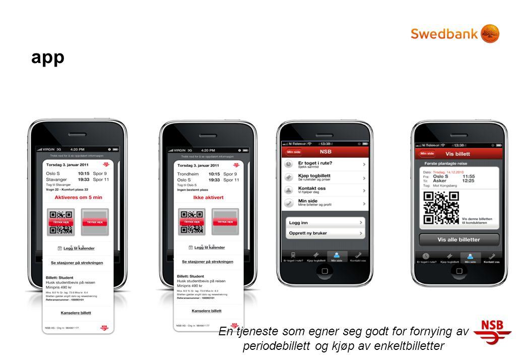 app En tjeneste som egner seg godt for fornying av periodebillett og kjøp av enkeltbilletter
