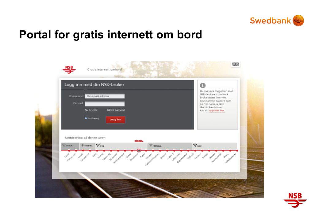 Portal for gratis internett om bord