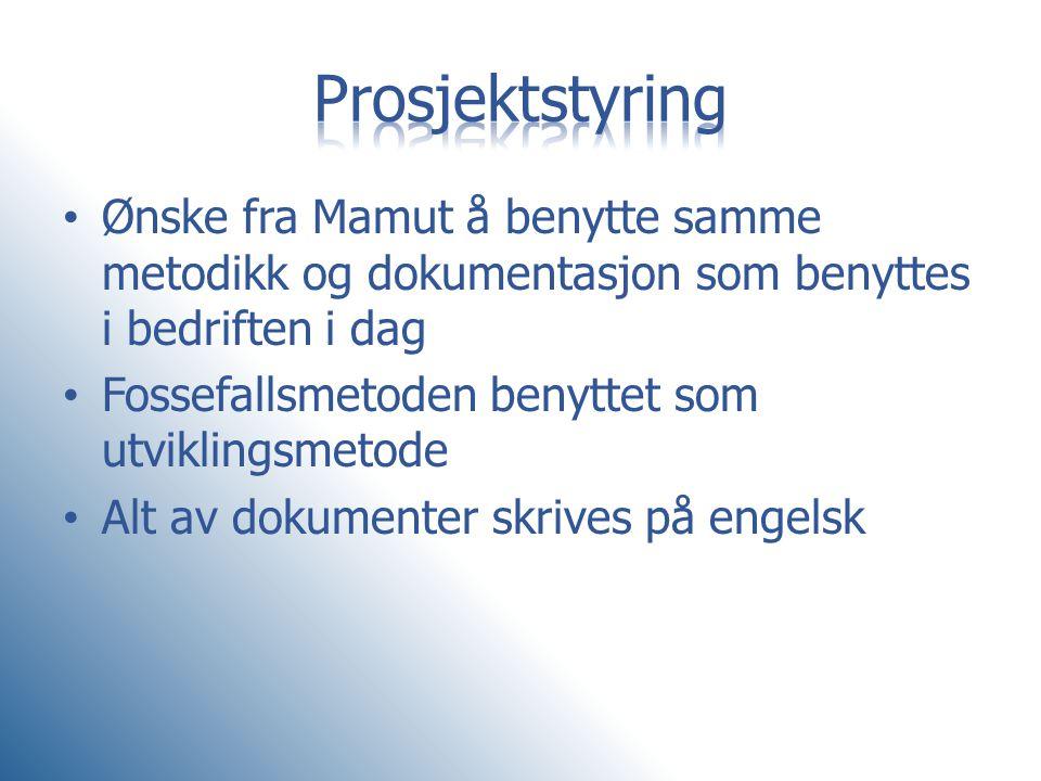 Prosjektstyring Ønske fra Mamut å benytte samme metodikk og dokumentasjon som benyttes i bedriften i dag.