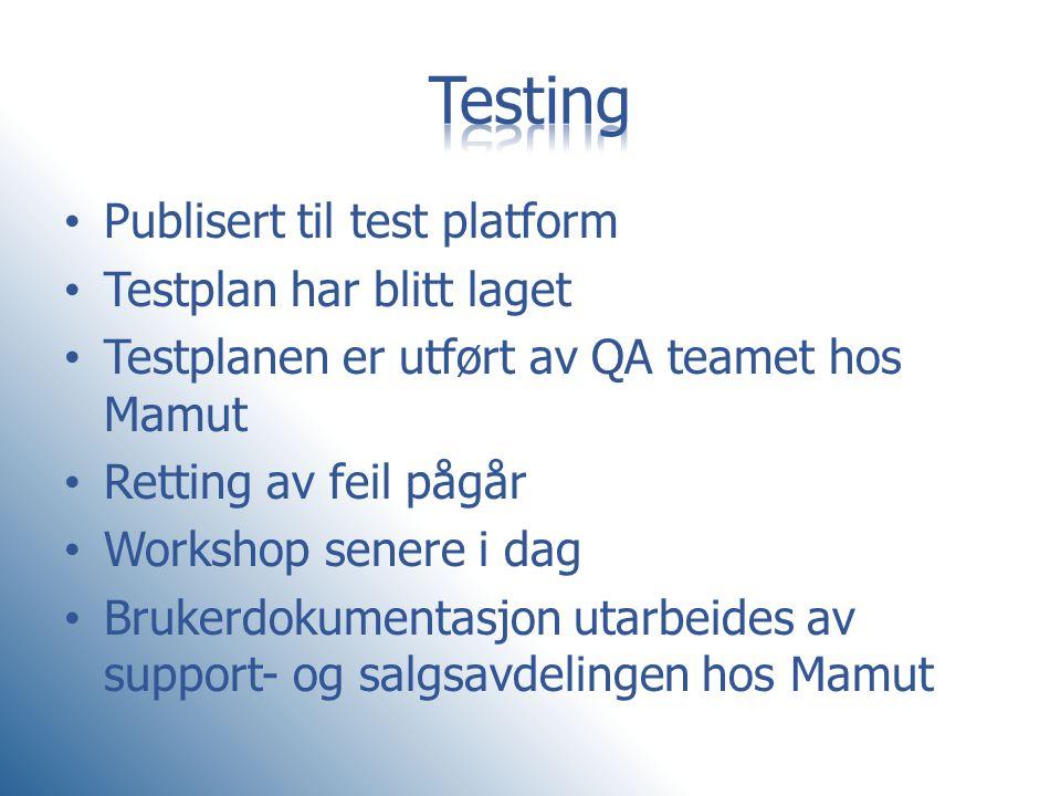 Testing Publisert til test platform Testplan har blitt laget