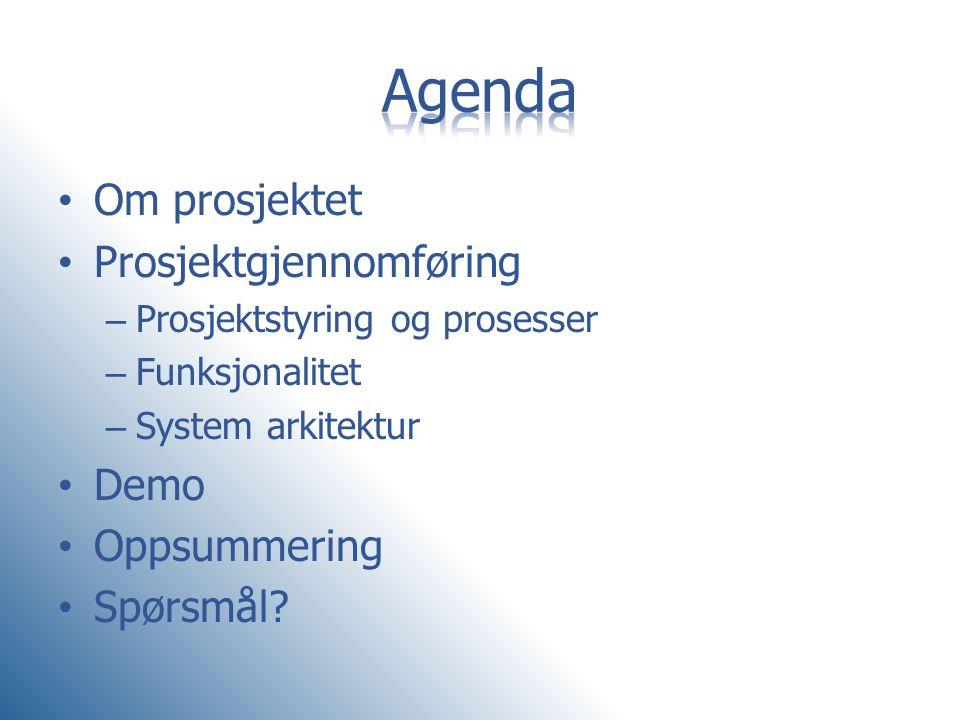 Agenda Om prosjektet Prosjektgjennomføring Demo Oppsummering Spørsmål