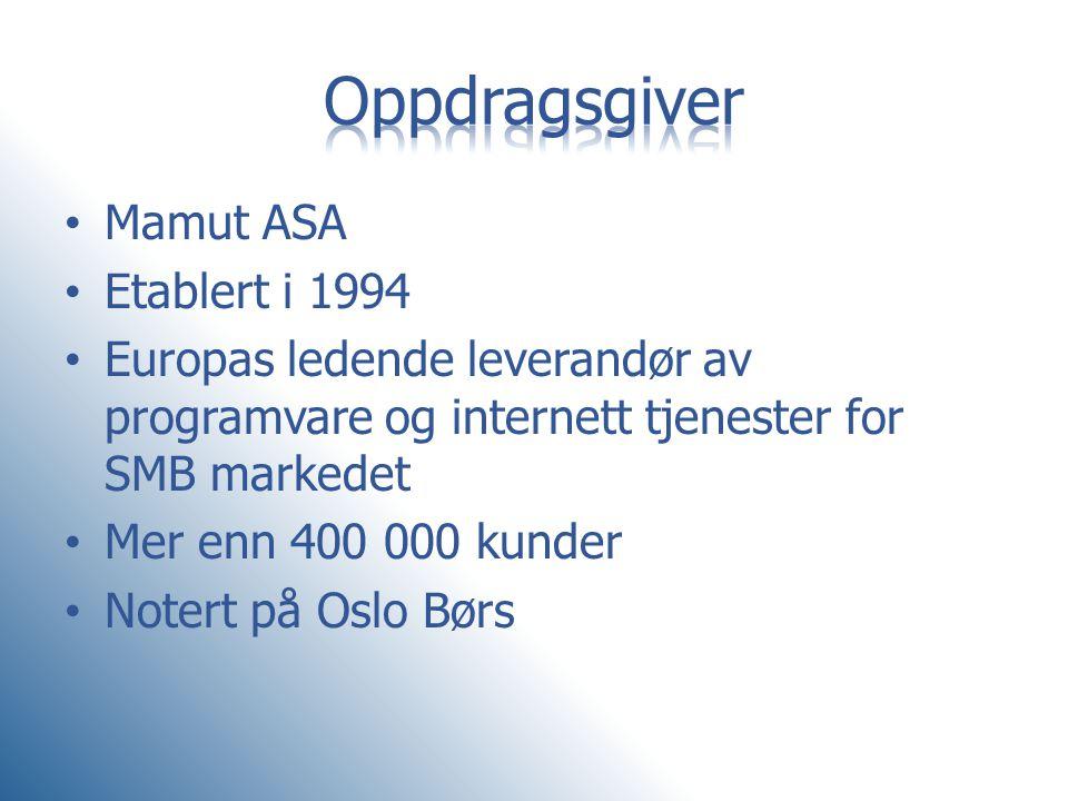 Oppdragsgiver Mamut ASA Etablert i 1994