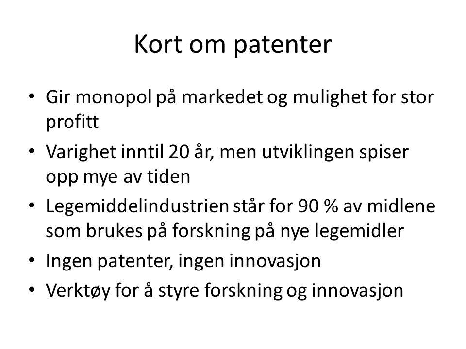 Kort om patenter Gir monopol på markedet og mulighet for stor profitt
