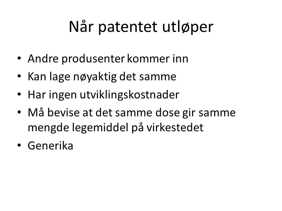 Når patentet utløper Andre produsenter kommer inn