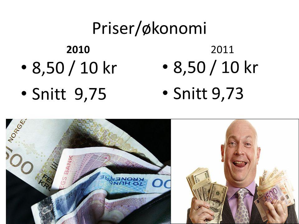Priser/økonomi 8,50 / 10 kr 8,50 / 10 kr Snitt 9,75 Snitt 9,73 2010