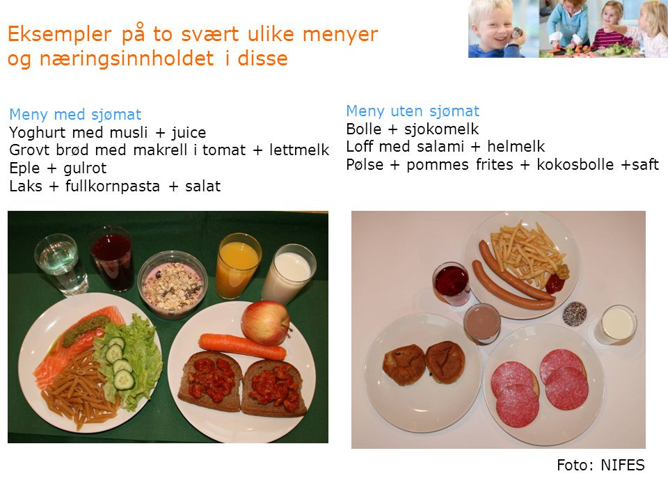 Eksempler på to svært ulike menyer og næringsinnholdet i disse
