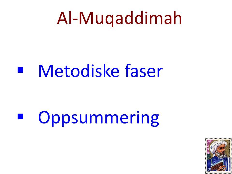 Al-Muqaddimah Metodiske faser Oppsummering