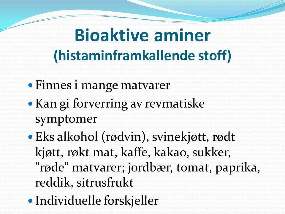 Bioaktive aminer (histaminframkallende stoff)