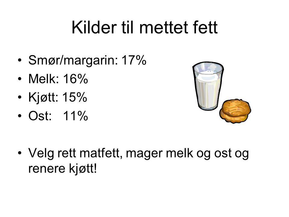 Kilder til mettet fett Smør/margarin: 17% Melk: 16% Kjøtt: 15%