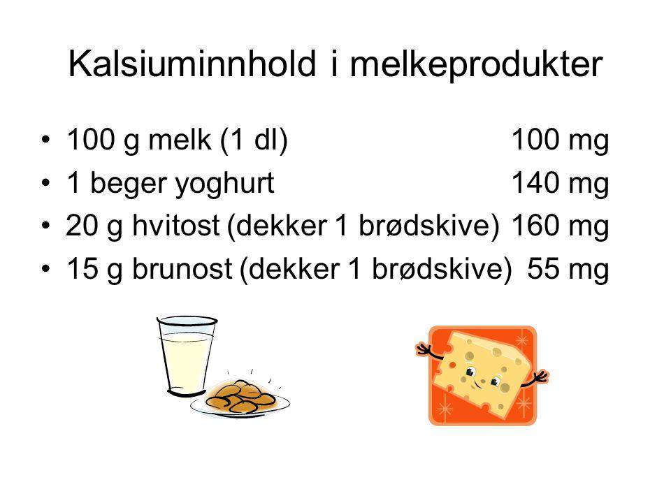 Kalsiuminnhold i melkeprodukter