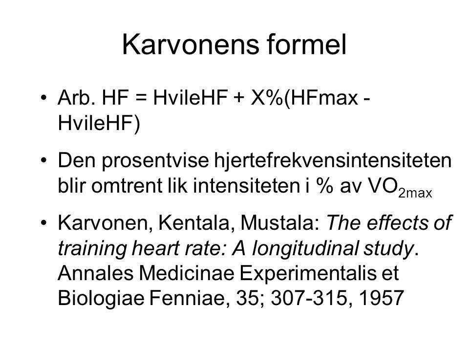Karvonens formel Arb. HF = HvileHF + X%(HFmax - HvileHF)