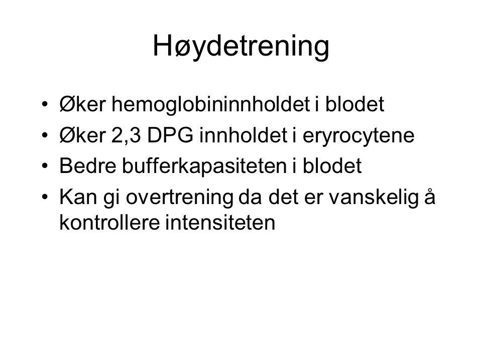 Høydetrening Øker hemoglobininnholdet i blodet