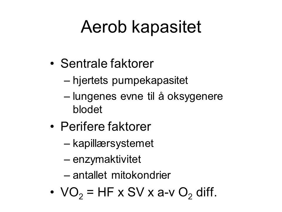 Aerob kapasitet Sentrale faktorer Perifere faktorer