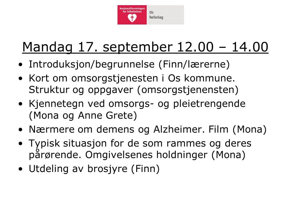 Mandag 17. september 12.00 – 14.00 Introduksjon/begrunnelse (Finn/lærerne)