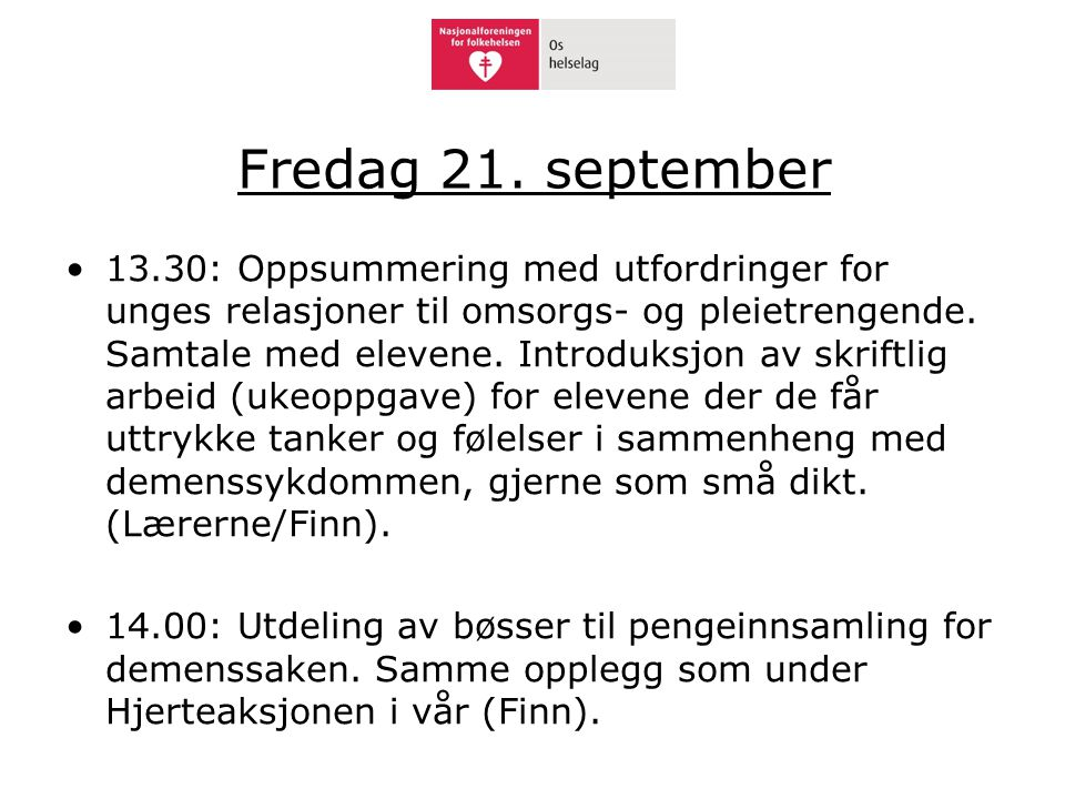Fredag 21. september