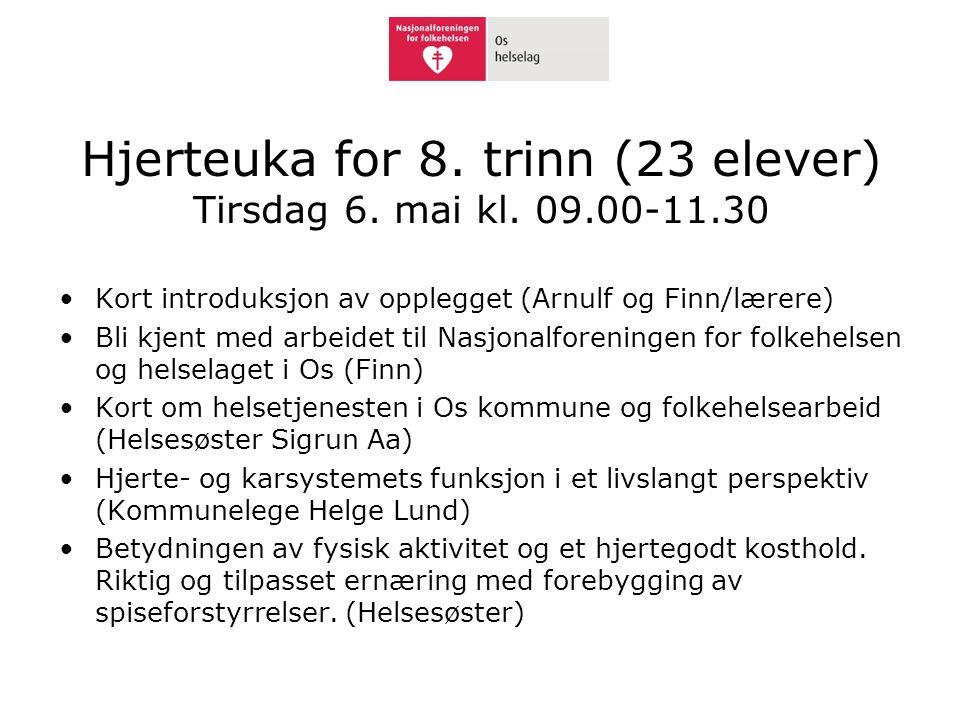 Hjerteuka for 8. trinn (23 elever) Tirsdag 6. mai kl. 09.00-11.30