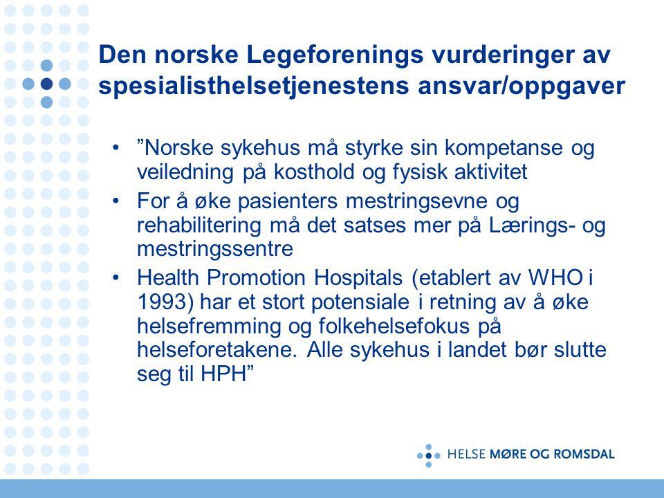 Den norske Legeforenings vurderinger av spesialisthelsetjenestens ansvar/oppgaver