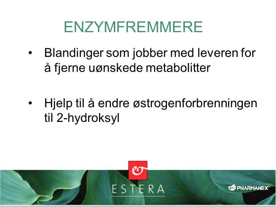 ENZYMFREMMERE Blandinger som jobber med leveren for å fjerne uønskede metabolitter. Hjelp til å endre østrogenforbrenningen til 2-hydroksyl.