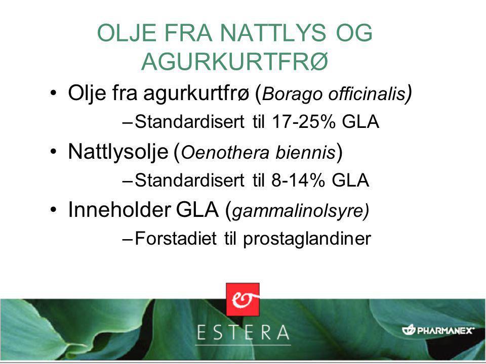 OLJE FRA NATTLYS OG AGURKURTFRØ