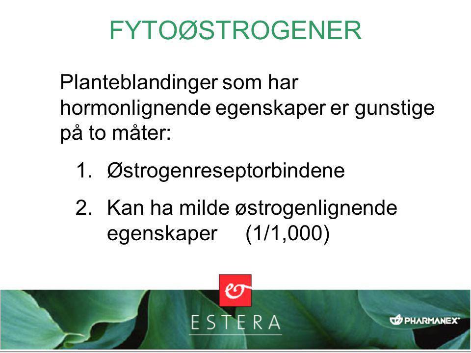 FYTOØSTROGENER Planteblandinger som har hormonlignende egenskaper er gunstige på to måter: Østrogenreseptorbindene.
