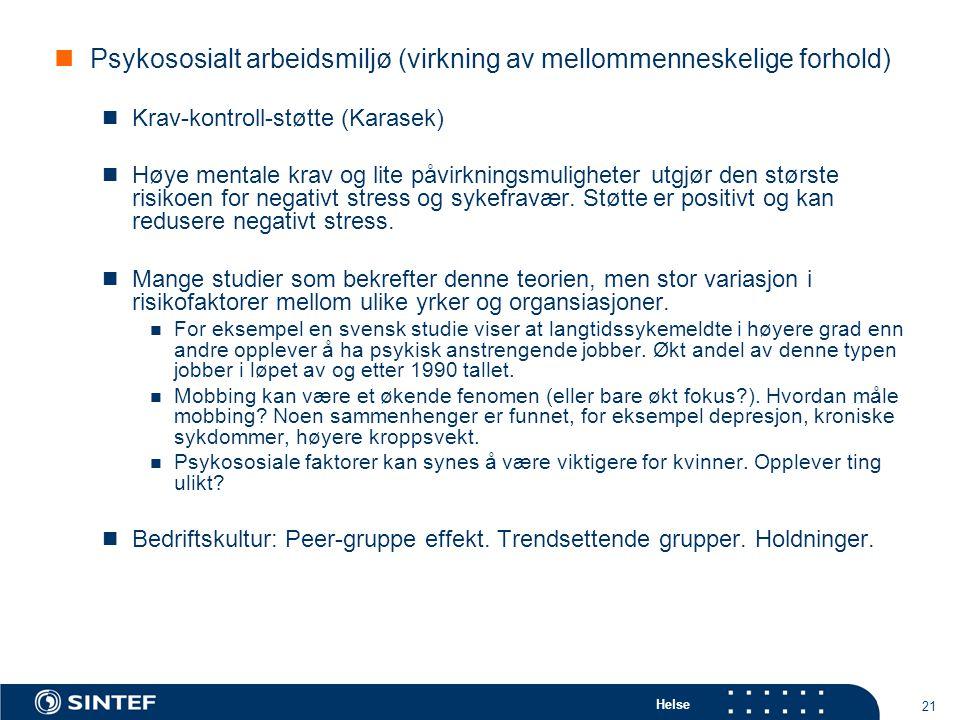 Psykososialt arbeidsmiljø (virkning av mellommenneskelige forhold)