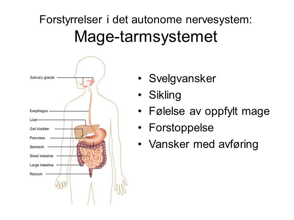 Forstyrrelser i det autonome nervesystem: Mage-tarmsystemet