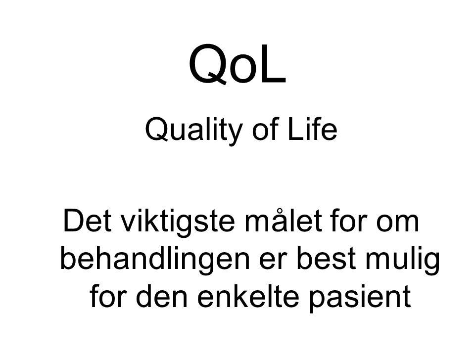 QoL Quality of Life Det viktigste målet for om behandlingen er best mulig for den enkelte pasient