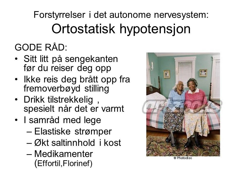 Forstyrrelser i det autonome nervesystem: Ortostatisk hypotensjon