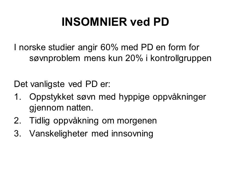 INSOMNIER ved PD I norske studier angir 60% med PD en form for søvnproblem mens kun 20% i kontrollgruppen.
