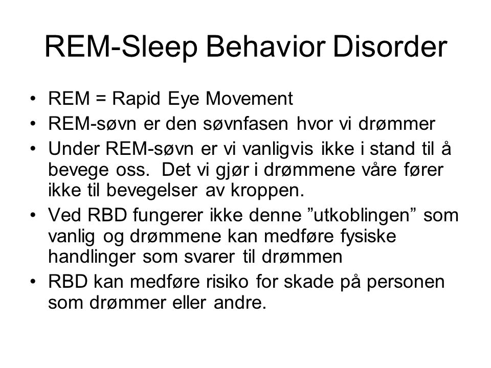 REM-Sleep Behavior Disorder