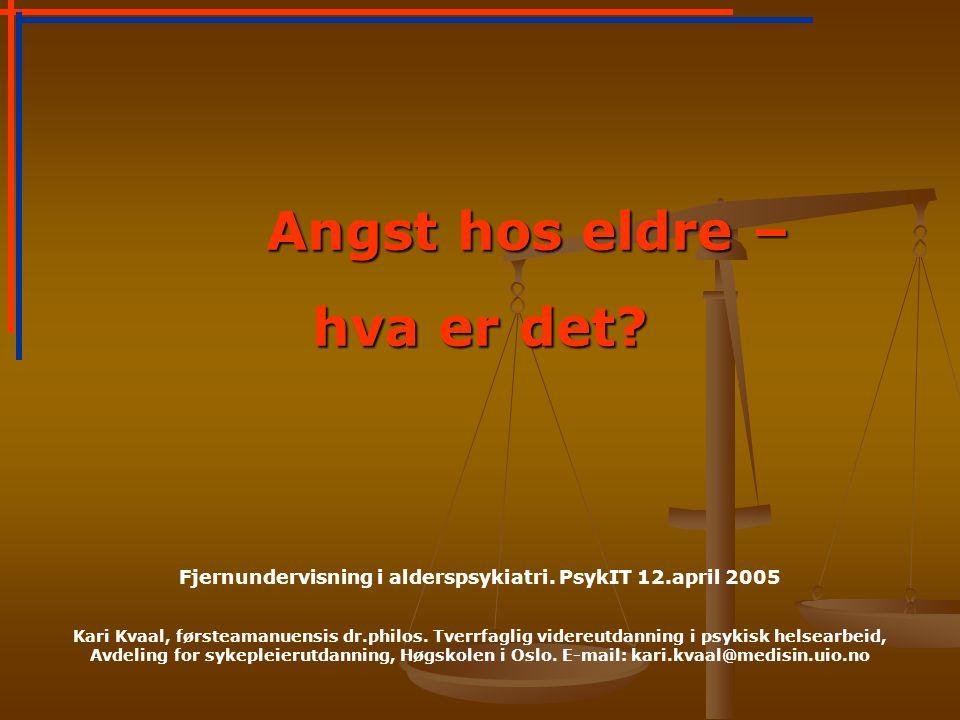 Fjernundervisning i alderspsykiatri. PsykIT 12.april 2005