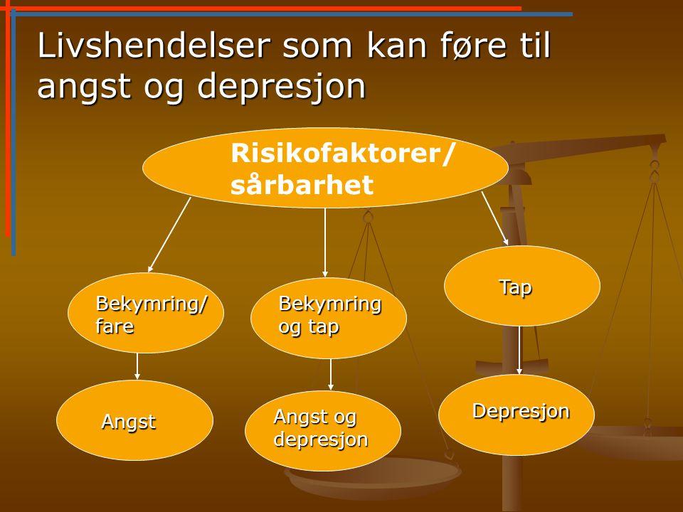 Livshendelser som kan føre til angst og depresjon