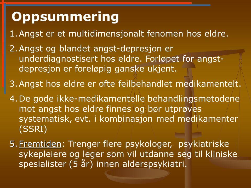 Oppsummering Angst er et multidimensjonalt fenomen hos eldre.