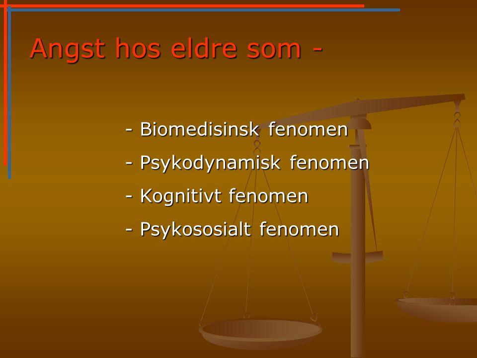 Angst hos eldre som - - Biomedisinsk fenomen - Psykodynamisk fenomen