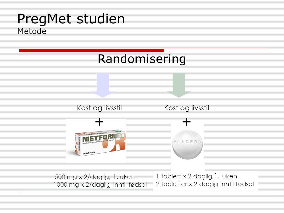+ + PregMet studien Metode Randomisering Kost og livsstil